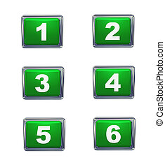 3d push button numbers series - 3d render of push button...