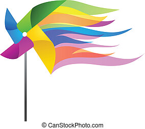 colorful windmill toy, vector illustration