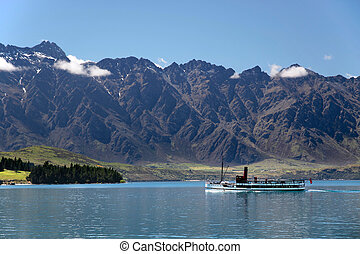Steam ship on Lake Wakatipu, Otago, South island, New...