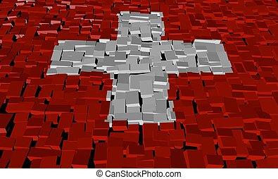 Swiss flag on blocks illustration