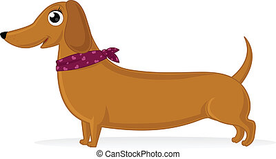 Dachshund - Cartoon illustration of dachshund with...
