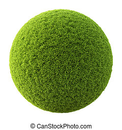 ball - Green grass ball. Isolated on white.
