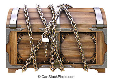 chest - old wooden chest in chains isolated on white