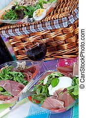 Pic-nic basket and salads - Delicious variety of italian...
