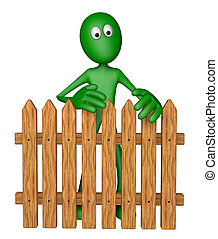 garden fence - green guy behind garden fence - 3d...
