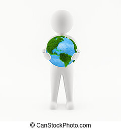 3D man holding planet Earth in his hands