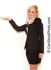 Smiling blonde professional saleswoman with her hand...