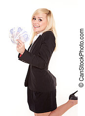 Ecstatic woman with a fistful of money - Ecstatic beautiful...
