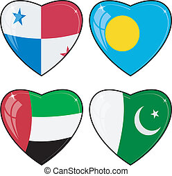 Set of vector images of hearts with the flags of Pakistan, Palau, Panama, Oman