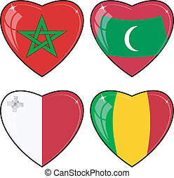 Set of vector images of hearts with the flags of Mali, Maldives, Malta, Morocco