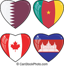 Set of vector images of hearts with the flags of Cambodia, Cameroon, Canada, Qatar