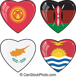 Set of vector images of hearts with the flags of Kenya, Cyprus, Kyrgyzstan, Kiribati