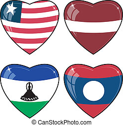 Set of vector images of hearts with the flags of Laos, Latvia, Lesotho, Liberia