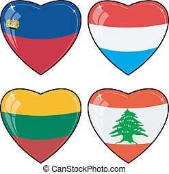 Set of vector images of hearts with the flags of  Lebanon, Luxembourg, Lithuania, Liechtenstein