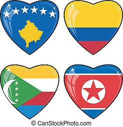 Set of vector images of hearts with the flags of Korea, Colombia, Comoros, Kosovo