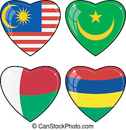 Set of vector images of hearts with the flags of Malaysia, Mauritius, Mauritania, Madagascar