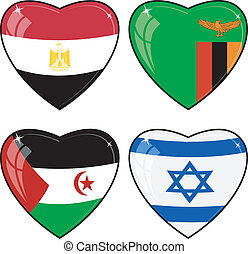 Set of vector images of hearts with the flags of  Egypt, Zambia, Sahara, Israel,