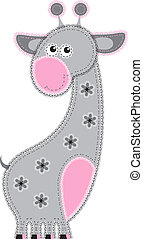 Fabric animal cutout Giraffe - Cute animal character in...