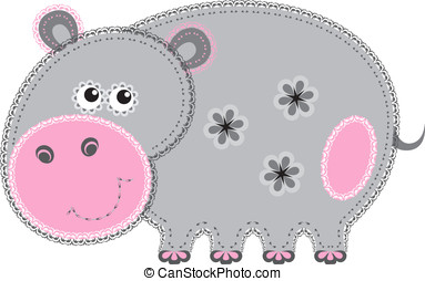 Fabric animal cutout. Hippo - Cute animal character in...