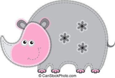 Fabric animal cutout. Rhino - Cute animal character in...