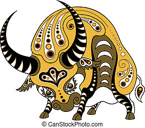 Ox in decorative style