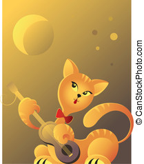 Red cat playing guitar in moonlight