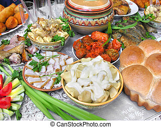 traditional ukrainian food in assortment in festive...