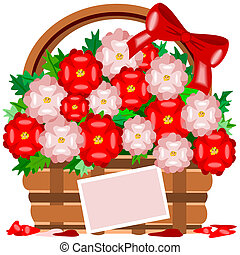 May Flowers - Illustration of a basket of May flowers that...