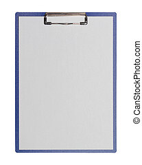 clipboard - A clipboard with a sheet of paper lying on a...