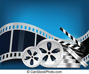 Cinema background with photoframe in blue color