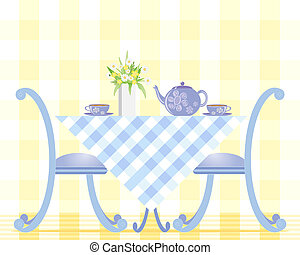 tea time - an illustration of a table set with tea cups...