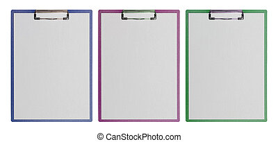 clipboard - Clipboards with white sheets of paper lying on a...