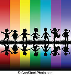Kids playing over a rainbow background