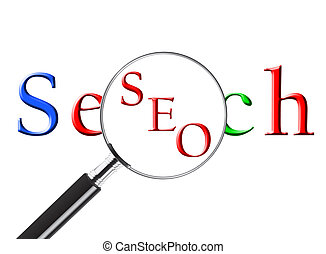 SEO - Magnifying glass over the word Search revealing SEO or...