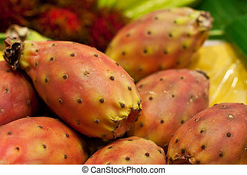 fresh prickly pear closeup on a market