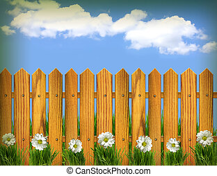 Wood fence and white flowers with blue sky.Vintage background