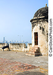 The Wall sentry box lookout with cannon view of Bocagrande...