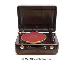 Old record player - Vintage record player isolated on a...