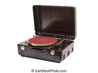 Record player - Antique record player isolated on a white