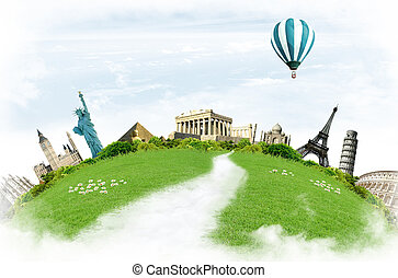 Travel around the world: landmarks with grassland and blue...