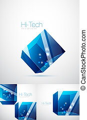 Blue glass cube background - Futuristic abstract glass cube...