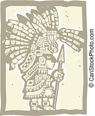Teotihuacan Warrior rendered in a woodblock print style