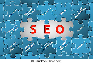 SEO Vector puzzle background - Search Engine Optimization...