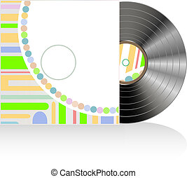 Vinyl disc cover in abstract texture. Vector