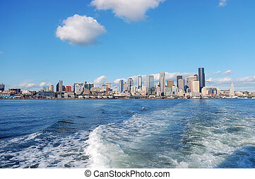 Skyline of Seattle, Washington from Puget Sound