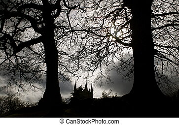 Gothic Landscape - Gothic landscape with silouettes of bare...