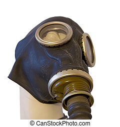 Chernobyl mask over model isolated on white background,...