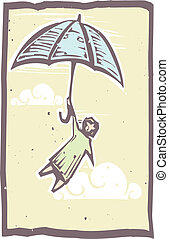 Umbrella Flying Woodblock - Woodcut person holds onto an...