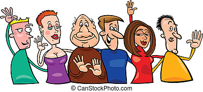 Group of happy people - Cartoon illustration of hugging...