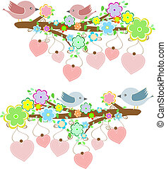 Cards with couples of birds sitting on branches with hanging hearts